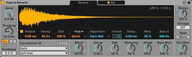 Ableton Live 11, הייבריד ריוורב (Hybrid Reverb) - מכללת BPM