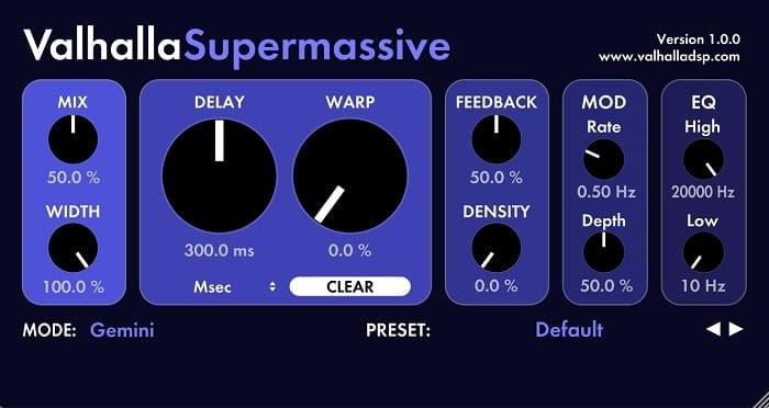 פלאגינים חינם להפקה אלקטרונית, Valhalla Supermassive - מכללת BPM